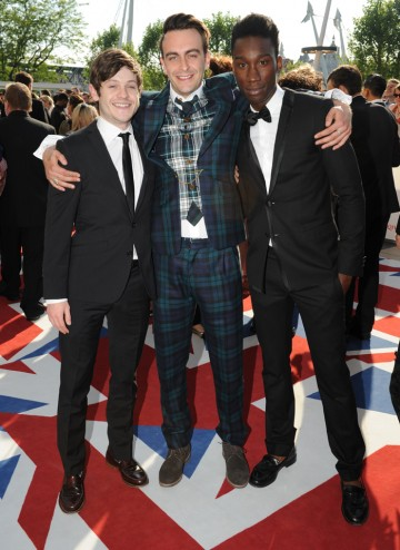 Iwan Rheon, Joe Gilgun and Nathan Stewart Jarrett of Misfits (in Dior), nominated for the Drama Series BAFTA. Gilgun is nominated for Leading Actor in This is England '88.