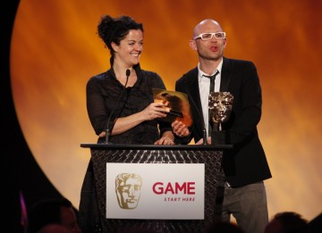 TV presenter and children's author Jason Bradbury presents the award for best Family and Social Game along with Channel 4 Commissioning Editor Alice Taylor (BAFTA/Brian Ritchie)