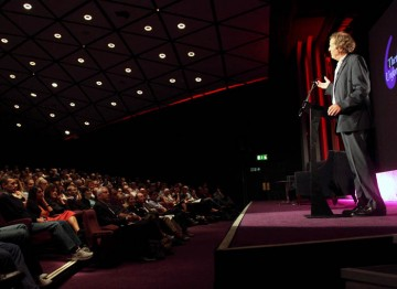 Sir David Hare talks with the audience at the screenwriters' lecture. (Photography: Jay Brooks)