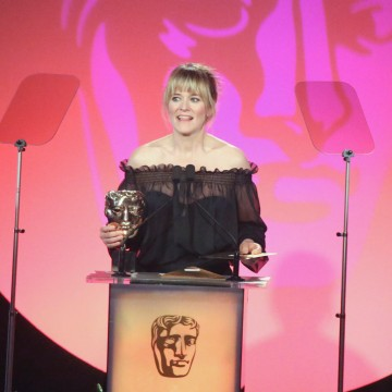 Edith Bowman presents the award for Writer: Comedy at the British Academy Television Craft Awards in 2015