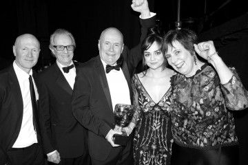 The I, Daniel Blake team - Paul Laverty, Ken Loach, Dave Johns, Hayley Squires and Rebecca O'Brien - cerebrate their win for Outstanding British Film