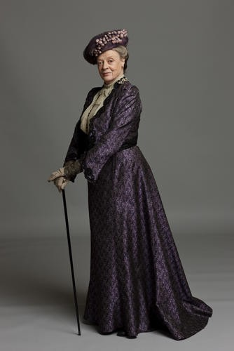 Fan favourite Dame Maggie Smith in costume as Violet, the Dowager Countess of Grantham.