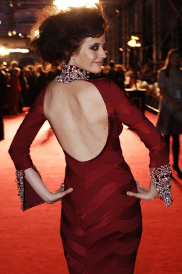 The Orange Rising Star winner wore a distinctive backless ruby red dress by Dior. (pic: BAFTA/Richard Kendal)