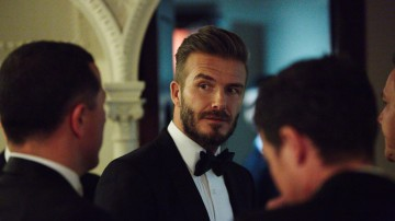 David Beckham backstage in the J. Kings Smoking Room at London's Royal Opera House after presenting the award for Outstanding British Film.