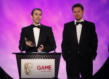Evan Wells and Christophe Balestra brave the stage one more time to pick up the fourth award of the evening for Uncharted 2: Among Thieves, this time for Story (BAFTA/Brian Ritchie)