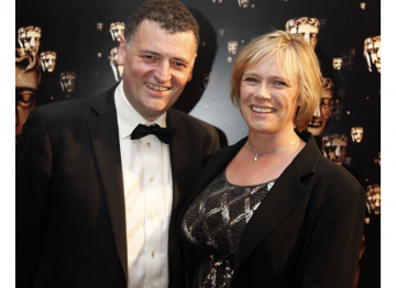 Steven's wife Sue Vertue is the prodcuer of Sherlock. Here they are pictured at the BAFTA Television Awards in 2011 when the show was nominated in four categories.