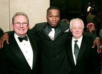 BAFTA Los Angeles Chairman Gary Dartnall, 50 Cent and Jim Sheridan.