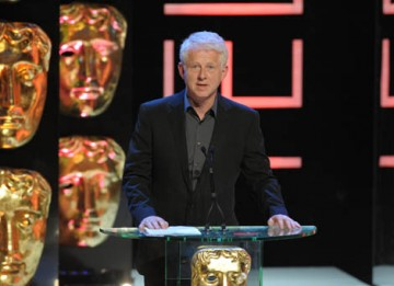 "The Boat That Rocked director Richard Curtis introduced the last award of the night, the Academy Fellowship, by calling recipients Dawn French and Jennifer Saunders the ""greatest female double act in the history of British television"" (BAFTA / Marc Hoberm"