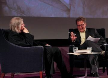 Matthew Sweet talks with Screenwriter Christopher Hampton. (Photography: Jay Brooks)