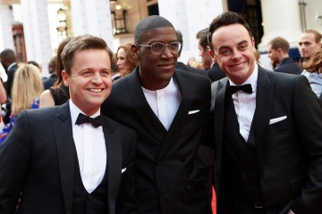 Ant, Dec and Labyrinth pose for the cameras outside London's Theatre Royal