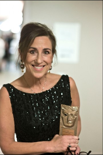 Kirsty Wark with her award for Outstanding Contribution to Broadcasting