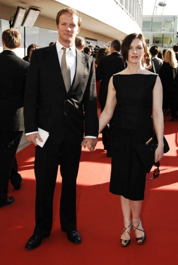 Spooks actor Rupert Penry-Jones and Dervla Kirwan, star of Ballykissangel and the Doctor Who Christmas Special, pose for the red carpet photographers (BAFTA / Richard Kendal).