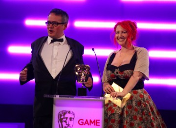 Charlie Higson and Jane Goldman announce the winners of the Story category.