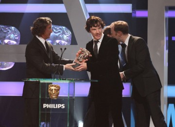 Leading Actor nominee Benedict Cumberbatch and the team behind Sherlock accept the award.