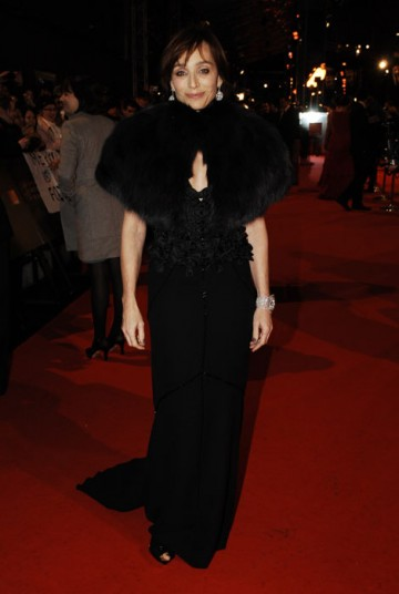 Kristin Scott Thomas is up for Best Supporting Actress as John Lennon's protective Aunt in Nowhere Boy. She wears a black Louis Vuitton dress (BAFTA/Richard Kendal).