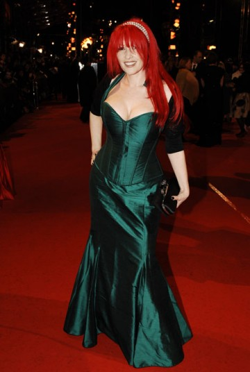 Dressed to impress. Writer of forthcoming film Kick-Ass, Jane Goldman, arrives sporting a shock of red hair (BAFTA/Richard Kendal).