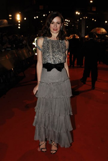 Emily Mortimer proved an apt choice to present the award for Make-Up and Hair in a grey embellished dress from Yves Saint Laurent and shoes by Jimmy Choo (BAFTA / Richard Kendal).