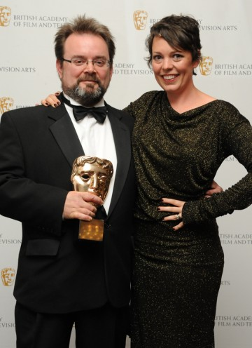 BAFTA-winning editor Charlie Phillips, who won for the A Study In Pink episode of Sherlock, with presenter Olivia Colman. (Pic: BAFTA/Chris Sharp)
