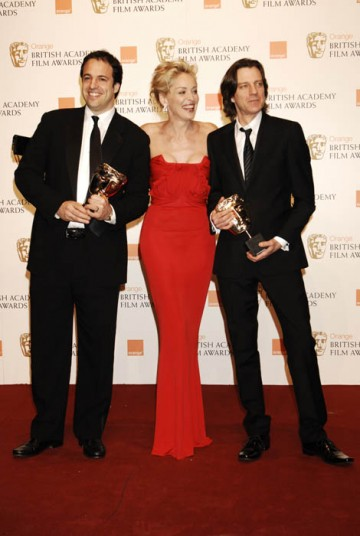 Sharon Stone presented Man On Wire producer Simon Chinn and director James Marsh with the award for Outstanding British Film (BAFTA/ Richard Kendal).