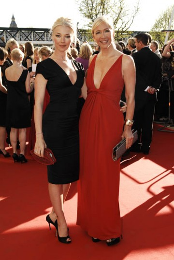 Tamara Beckwith wore a Roland Mouret dress and Gucci shoes with a Lulu Guinness Clutch, while Tania Bryer graced the red carpet in a long Gucci dress and Christian Louboutin shoes (BAFTA/ Richard Kendal).