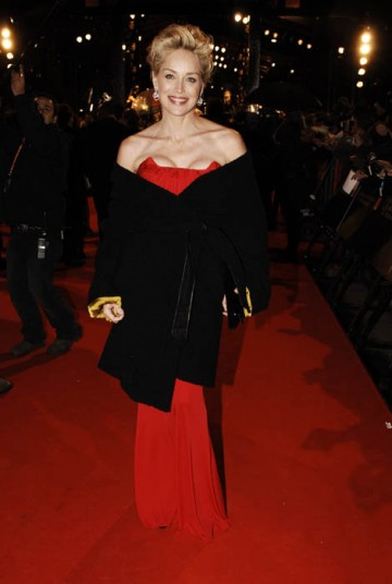 Sharon Stone, presenter of the BAFTA for Outstanding British Film, was radiant in red Galliano (BAFTA / Richard Kendal).