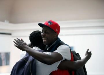 Jamal Edwards, founder of SBTV, greets actor Daniel Kaluuya