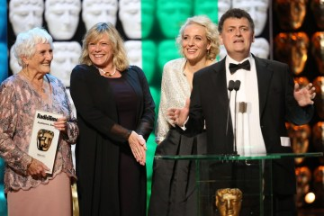 Amanda Abbington, Sue Vertue, Beryl Vertue and Stephen Moffat accept the Radio Times Audience Award