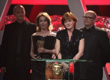 BBC Four's acclaimed Danish crime thriller wins: Soren Sveistrup, Piv Bernth, Birger Larsen and Sophie Grabol accept the award.