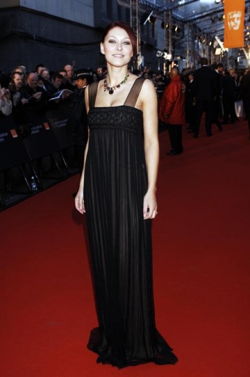Emma Griffiths wore an elegant black gown from Jasmine di Milo complimented by Tom Binns jewels and shoes by Jimmy Choo (pic: BAFTA / Richard Kendal).
