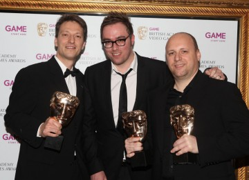 "Presenter Danny Wallace and the winning team behind the dramatic thriller that asked ""What would you do to save your son?"" (Pic: BAFTA/Steve Butler)"