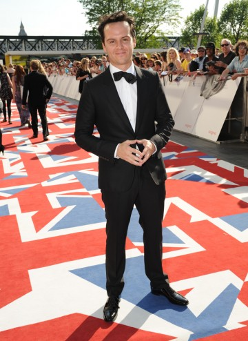 Sherlock's nemesis Moriarty, looking sharp in a Gucci suit, is up against his co-star Martin Freeman's in the Supporting Actor category.