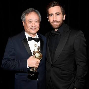 Jake Gyllenhaal joined Ang backstage after presenting Ang Lee with the John Schlesinger Britannia Award for Excellence in Directing