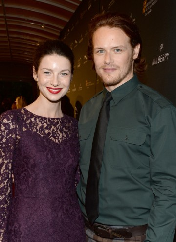 Sam Heughan and Caitriona Balfe on the red carpet at the BAFTA LA 2014 Awards Season Tea Party.
