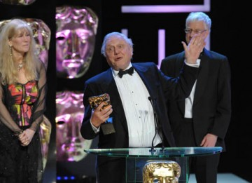 """Sara Ford, Miles Barton and Adam White joined Sir David Attenborough on stage to celebrate their Specialist Factual win for Life in Coild Blood. Sir David collected his eighth BAFTA by thanking """"spitting cobras, axolets, golden frogs, dwarf chameleons, th"""
