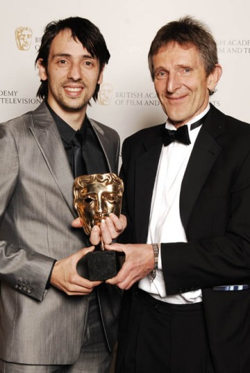 Mick Webb receives the Interactive Innovation - Service/Platform award for Mi Vida Loca: Real Spanish, Real Drama from Ralf Little on behalf of the team  (BAFTA / Richard Kendal).