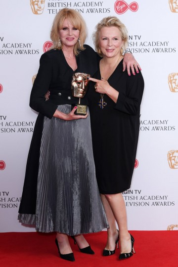 Joanna Lumley is presented the BAFTA Fellowship by longstanding collaborator Jennifer Saunders