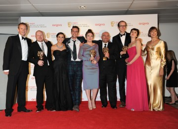 Jenny Agutter and Alexander Armstrong presented the BAFTA for best Mini Series to the team behind This is England '88, including Shane Meadows and Mark Herbert.