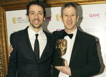 Actor Ralph Little presents EA's Keith Ramsdale with the Sports BAFTA for footballing favorite FIFA 10 (BAFTA/Steve Butler).