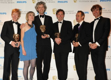 The Factual Series BAFTA was awarded to Will Anderson, Gavin Searle, Chris King and Andrew Palmer for Welcome To Lagos. (Pic: BAFTA/Richard Kendal)