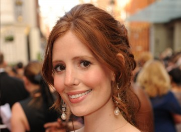 Emmerdale & Downton Abby actress Amy Nuttall's auburn locks were scooped into a loose up do for a classic elegant look.