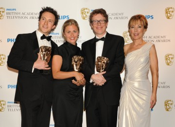 The winning Single Documentary team behind provocative medical documentary Between Life and Death, presented by Sian Williams. (Pic: BAFTA/Richard Kendal)