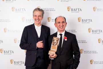 Citation reader Peter Capaldi with Armando Iannucci, Outstanding Contribution to Film and Television