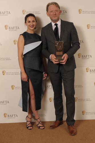 Douglas Henshall (Actor Television) with citation reader Morven Christie