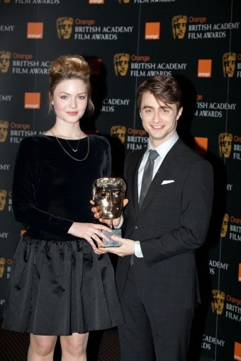 Radcliffe and Grainger with the coveted BAFTA mask.