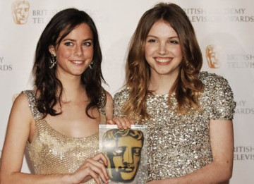 Skins stars Kaya Scodelano and Hanna Murray celebrate their win in the only category voted for by the public, the Philips Audience Award (BAFTA/ Richard Kendal).