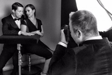 Matthew Goode and Hayley Atwell in the boutique photo area at London's Royal Opera House.