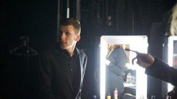 Adapted Screenplay award presenter Jessie Eisenberg in the backstage styling area at London's Royal Opera House.