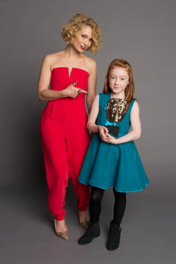 Eight-year-old Cherry Campbell, star of Katie Morag and BAFTA's youngest ever winner, for the Performer category at the British Academy Children's Awards in 2014, presented by MyAnna Buring