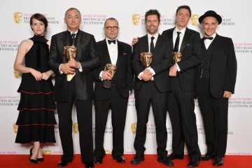 Drama Series Winners: Wolf Hall L - R – Claire Foy, Peter Kosminsky, Peter Straughan, Mark Pybus, Colin Callender, Mark Rylance