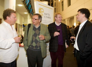 The Time Travel writers relax after the event (Image: BAFTA).